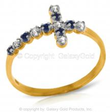14K Solid Gold CROSS RING WITH DIAMONDS & SAPPHIRES #15184v0