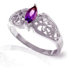14K White Gold FILIGREE RING WITH AMETHYST #20612v0