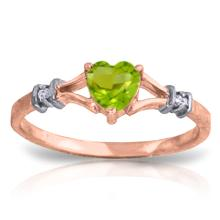 14K Rose Gold Heartfelt Peridot Diamond Ring #18794v0