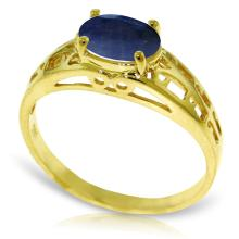 14K Solid Gold Filigree Ring with Sapphire #13170v0