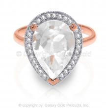 14K Rose Gold RING WITH DIAMONDS & WHITE TOPAZ #18224v0