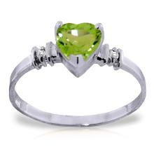 14K White Gold Ring with Peridot & Diamonds #16850v0