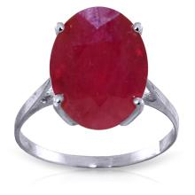 14K White Gold Ring with Oval Ruby #12130v0