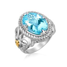 18K Yellow Gold and Sterling Silver Oval Blue Topaz Ring with Fluer De Lis Decor #94278v2