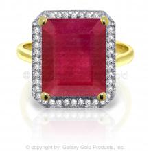 14K Solid Gold Be You Just You Ruby Diamond Ring #18220v0