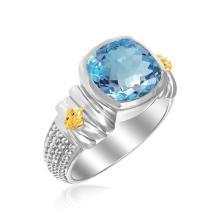 18K Yellow Gold & Sterling Silver Fleur De Lis Cushion Blue Topaz Popcorn Ring #94857v2