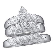 925 Sterling Silver White 0.11CTW DIAMOND CLUSTER TRIO SET #56730v2