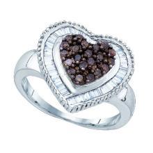 925 Sterling Silver White 0.78CT DIAMOND HEART RING #50855v2
