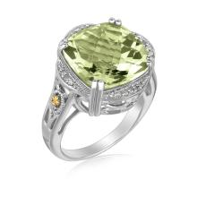 18K Yellow Gold and Sterling Silver Cushion Green Amethyst Ring (.09 ct. tw.) #94092v2