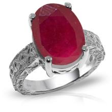 14K. White Gold RING WITH OVAL RUBY #11295v0