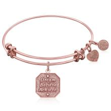 Expandable Bangle in Pink Tone Brass with Dream Believe Achieve Symbol #93660v2