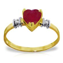 14K Solid Gold Ring with Ruby & Diamonds #16492v0