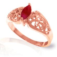 14K Rose Gold FILIGREE RING WITH RUBY #15049v0