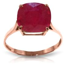 14K Rose Gold Ring with Cushion Shape Ruby #20422v0