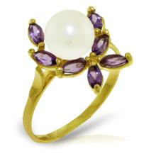 14K Solid Gold Ring with Amethysts & Pearl #20033v0