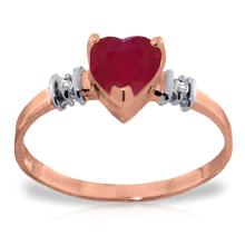 14K Rose Gold Ring with Ruby & Diamonds #21523v0