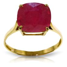 14K Solid Gold Ring with Cushion Shape Ruby #16448v0