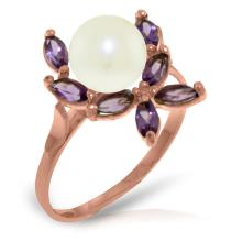 14K Rose Gold Ring with Amethysts & Pearl #11390v0
