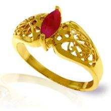 14k Solid Gold Lily Ruby Ring #18150v0