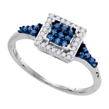925 Sterling Silver White 0.30CTW-BLUE DIAMOND RING #60235v2