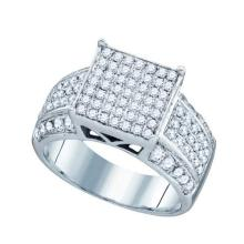 925 Sterling Silver White 0.97CTW DIAMOND LADIES MICRO PAVE RING #52452v2