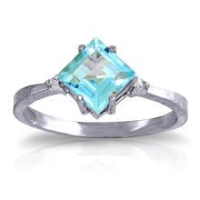 14K White Gold Ring with Diamonds & Blue Topaz #12806v0