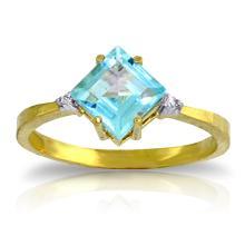 14K Solid Gold Ring with Diamonds & Blue Topaz #15581v0