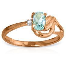14K Rose Gold Lament Over love Aquamarine Diamond Ring #15302v0