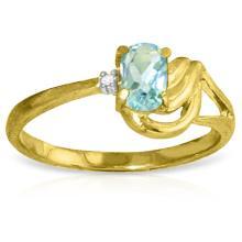 14K Solid Gold Lament Over love Aquamarine Diamond Ring #18780v0