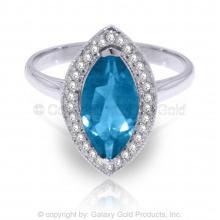 14K White Gold RING WITH DIAMONDS & MARQUIS BLUE TOPAZ #11215v0