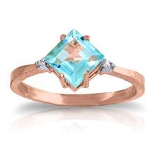14K Rose Gold Ring with Diamonds & Blue Topaz #11464v0