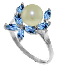 14K White Gold Ring with Blue Topaz & Pearl #12028v0