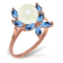 14K Rose Gold Ring with Blue Topaz & Pearl #12658v0