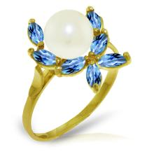 14K Solid Gold Ring with Blue Topaz & Pearl #20032v0