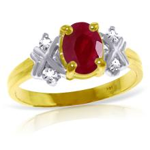 14K Solid Gold Ring with Diamonds & Ruby #18145v0