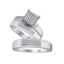 925 Sterling Silver White 0.20CTW DIAMOND MICRO-PAVE TRIO SET #59748v2