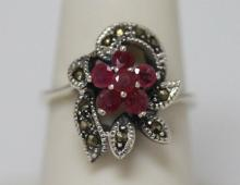 0.40 CTW RUBY RING ANTIQUE STYLE JEWELRY .925 STERLING  #46190v1