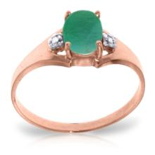 14K Rose Gold Brilliance Emerald Diamond Ring #12146v0