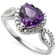 GENUINE 1.61 CTW AMETHYST AND DIAMOND PLATINUM PLATED . #42270v2