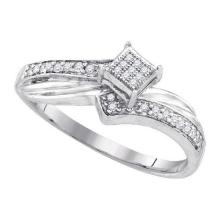 925 Sterling Silver White 0.18CTW DIAMOND MICRO-PAVE RING #59736v2