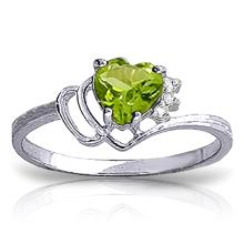 14K White Gold Ring with Diamonds & Peridot #15569v0