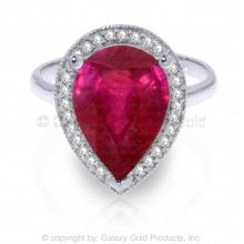 14K White Gold Within Distance Ruby Diamond Ring #12333v0