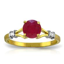 14K Solid Gold Ruby Perspiration Ruby Diamond Ring #17492v0