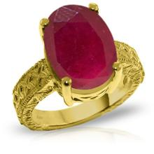 14K. Solid Gold RING WITH OVAL RUBY #12460v0