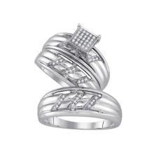925 Sterling Silver White 0.15CTW DIAMOND MICRO-PAVE TRIO SET #59742v2