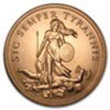 5 oz Copper Round - Sic Semper Tyrannis #27361v2