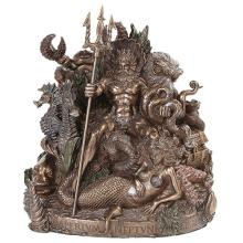 King Neptune Cold Cast Bronze Statue #71289v2