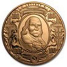 1 oz Copper Round - $100 Benjamin Franklin Banknote #27338v2