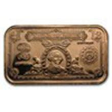 1 oz Copper Bar - $2.00 Washington Silver Certificate #27372v2