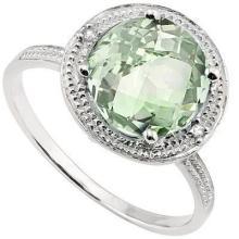 GENUINE 2.49 CTW GREEN AMETHYST AND 0.012 CTW DIAMOND P #42706v2